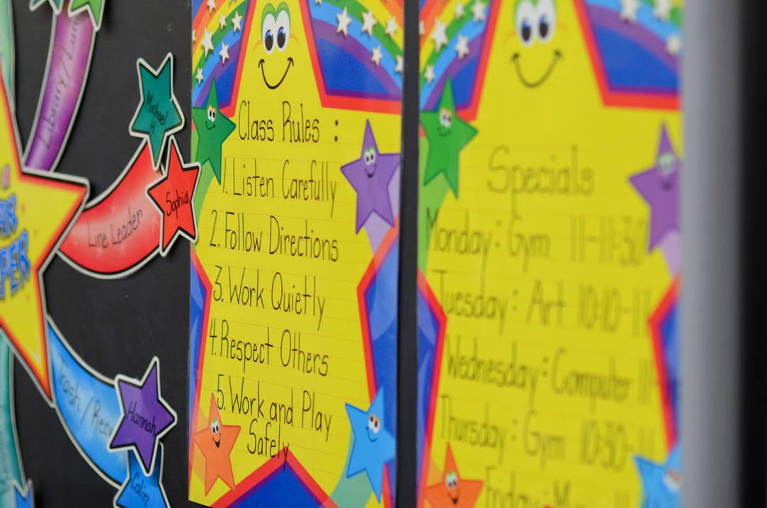 Closeup of bulletin board with stars