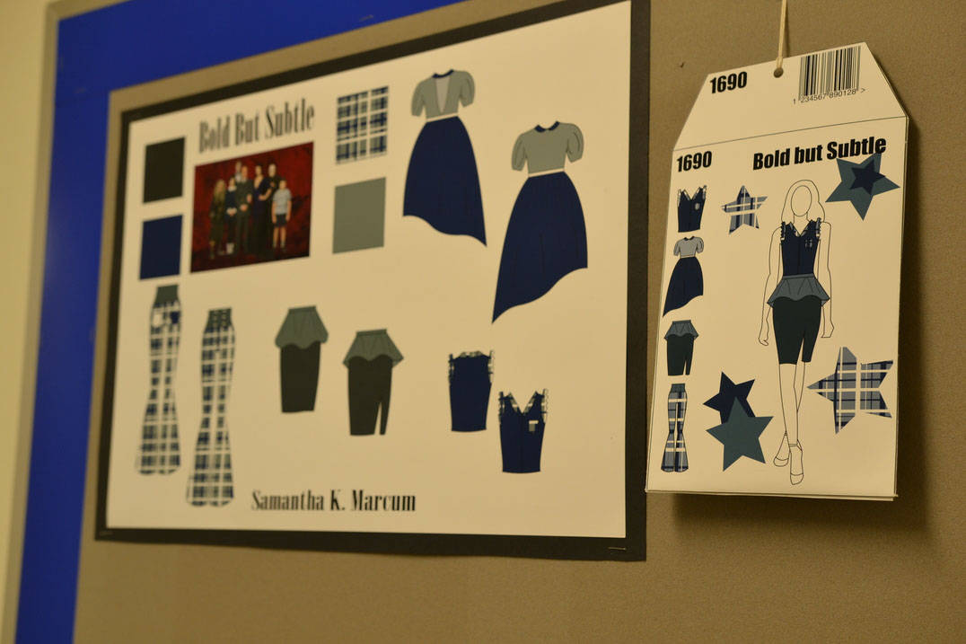 Fashion design degree student designs created in InDesign and Illustrator