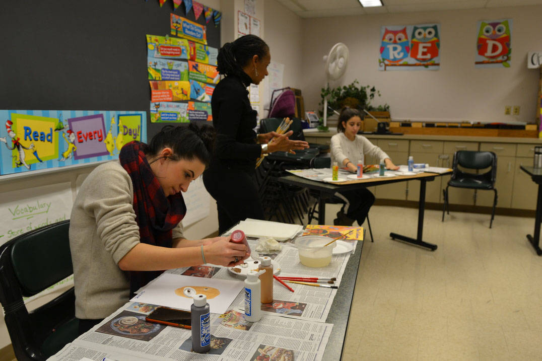 Education students practice class assignment