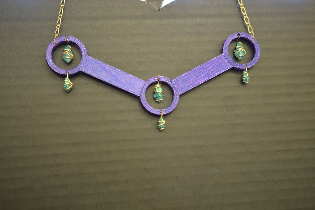 Fashion design necklace created in 3D printer