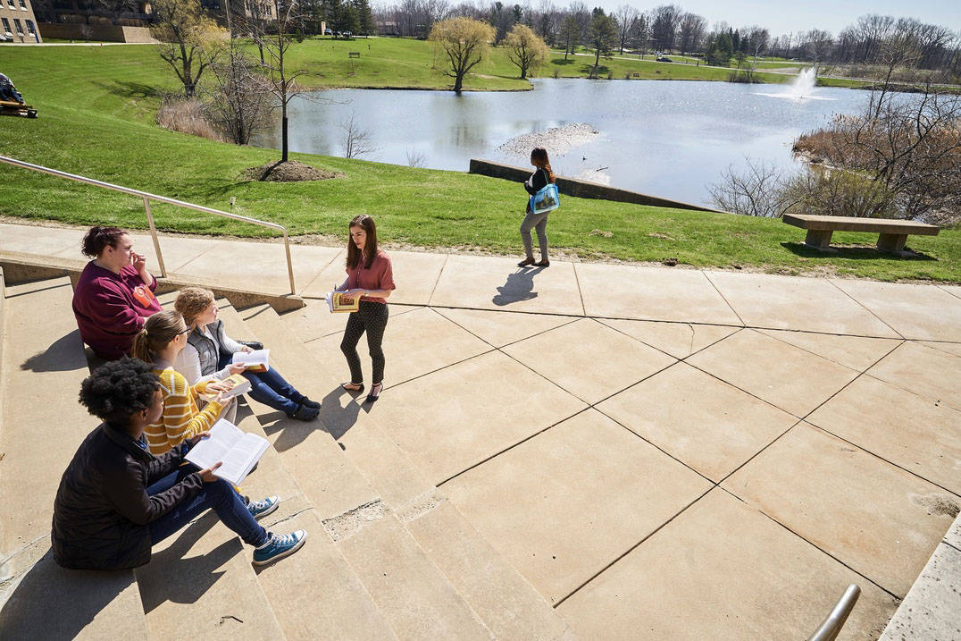 Students enjoy class on a warm Spring day at Ursuline College